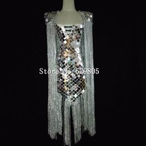 Tassel Bodysuit Costumes Outfit-Set Sparkly Nightclub Party Sexy Fashion Women Stage