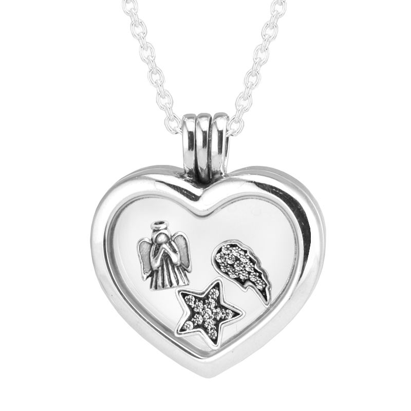 100% 925 Sterling Silver Fine Jewelry 60cm Large Floating Locket Heart Pendants Necklaces Free Shipping 100% 925 Sterling Silver Fine Jewelry 60cm Large Floating Locket Heart Pendants Necklaces Free Shipping