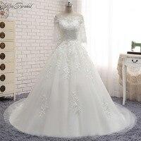 Vestido Longo Branco Stunning Charming Half Sleeve Wedding Dresses A Line Corset Back Lace Tulle Bride