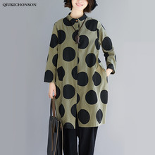 Literary Casual Women Polka Dot Blouse Long Sleeve Korean Fashion Stand Collar Plus Size Long Shirts With Pockets dames blouses stand collar polka dot print rib splicing design long sleeve jacket