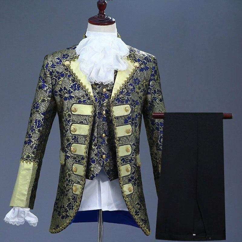 18th القرن المحكمة الأوروبية الرجال ثلاث قطع الدعاوى ملهى ليلي الأزهار التطريز الأداء سترة زي (سترة + السراويل + سترة)-في بدلة من ملابس الرجال على  مجموعة 2