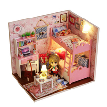 Hot Miniature Dollhouse with Furniture Wooden DIY DollHouse Kit Plus Dust Proof Puppet Doll Children Educational Toys Kids Gifts