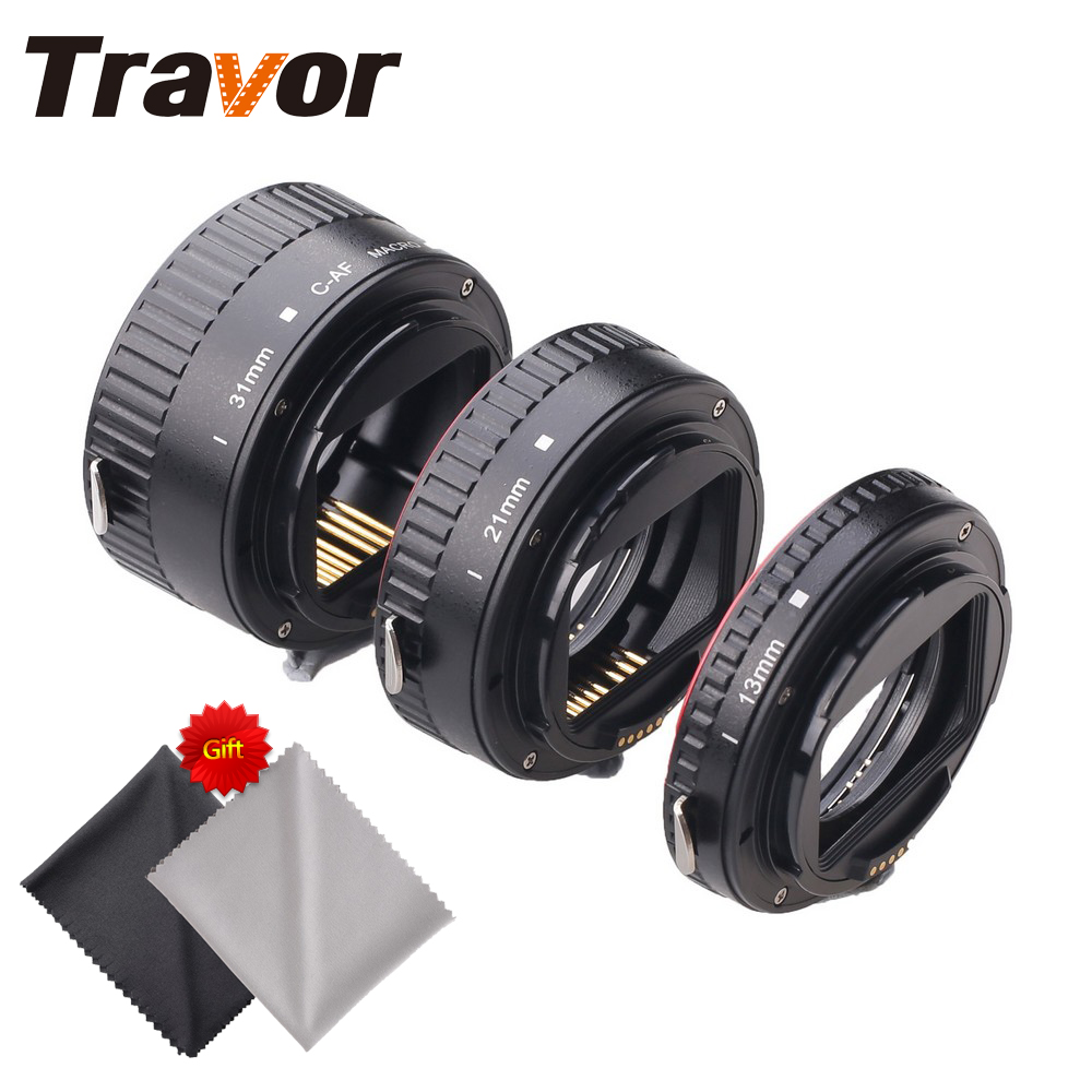 Travor MET-C1 Plastic Macro Extension Tube For Canon DSLR Camera with 2pcs Microfiber Lens Cloth macro extension tube for sony e mount ac ms silver grey