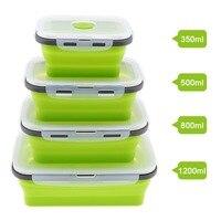 4 шт. Прямоугольник Силиконовые Коробки для обедов складной Bento box складной контейнер для еды ковша 350/500/800/1200 мл для посуды