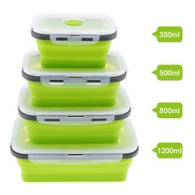 4pcs Silicone Rectangle Lunch Box Collapsible Bento Folding Food Container Bowl 350/500/800/1200ml for Dinnerware