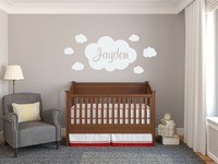 Personalized Name Clouds Patterned Nursery Wall Decal Girl Room Decor Vinyl Wall Stickers Free Ship