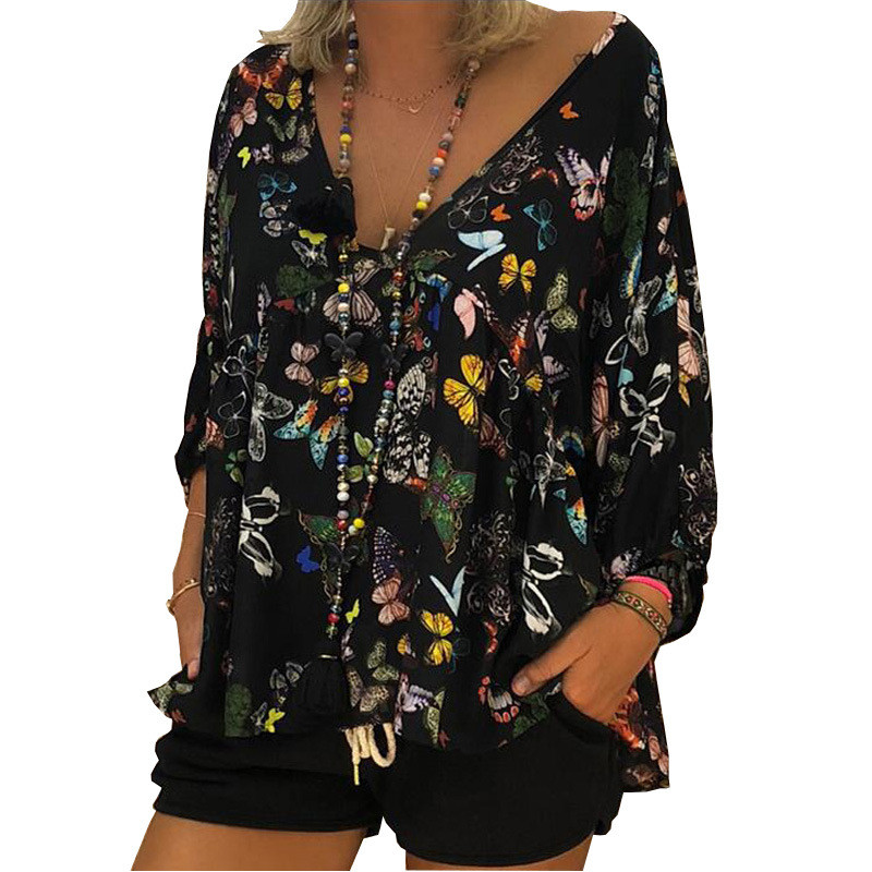 4XL 5XL Spring Summer Leisure   Blouse   Women Sexy Butterfly Print   Shirt   Casual Puff Sleeve Loose   Blouse     Shirts   Plus Size Women Top