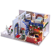Blue Christmas Beautiful Wooden Doll House Miniture Doll House Assembly Minituras With Furniture DIY Dollhouse Birthday Gift