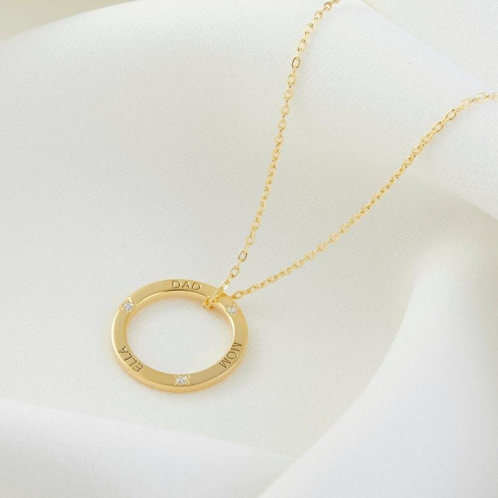 Cercle collier famille collier personnalisé enfants nom collier nom disque collier fête des mères cadeau saint valentin cadeau anniversaire