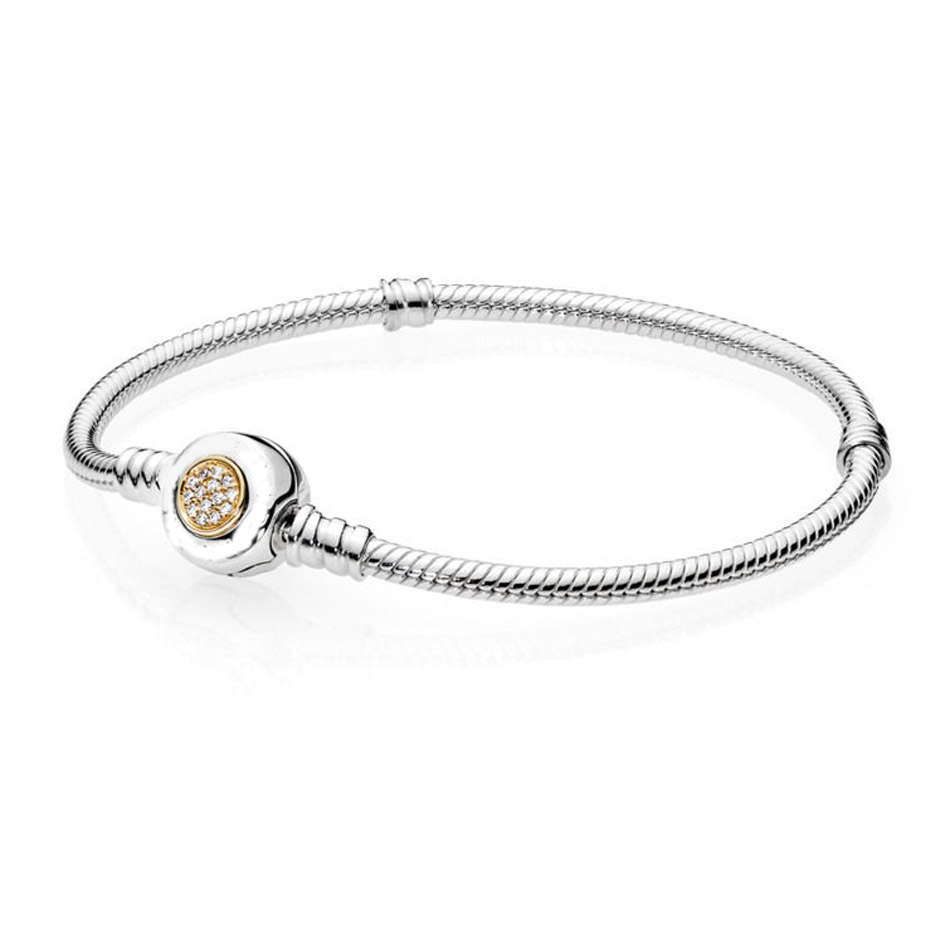Authentic 925 Sterling Silver Bracelet MOMEMTS Two-Tone Snake Chain Bracelets For Women fit Pandora Beads Charm Jewelry new 925 sterling silver bracelet momemts two tone signature snake chain bracelet bangle fit women bead charm pandora jewelry