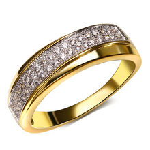 DC1989 Free shipping 2 Layers Overlap Round Lead Free Cubic Zirconia 18K Gold & Platinum Plated Wedding Rings for women (YR6421)