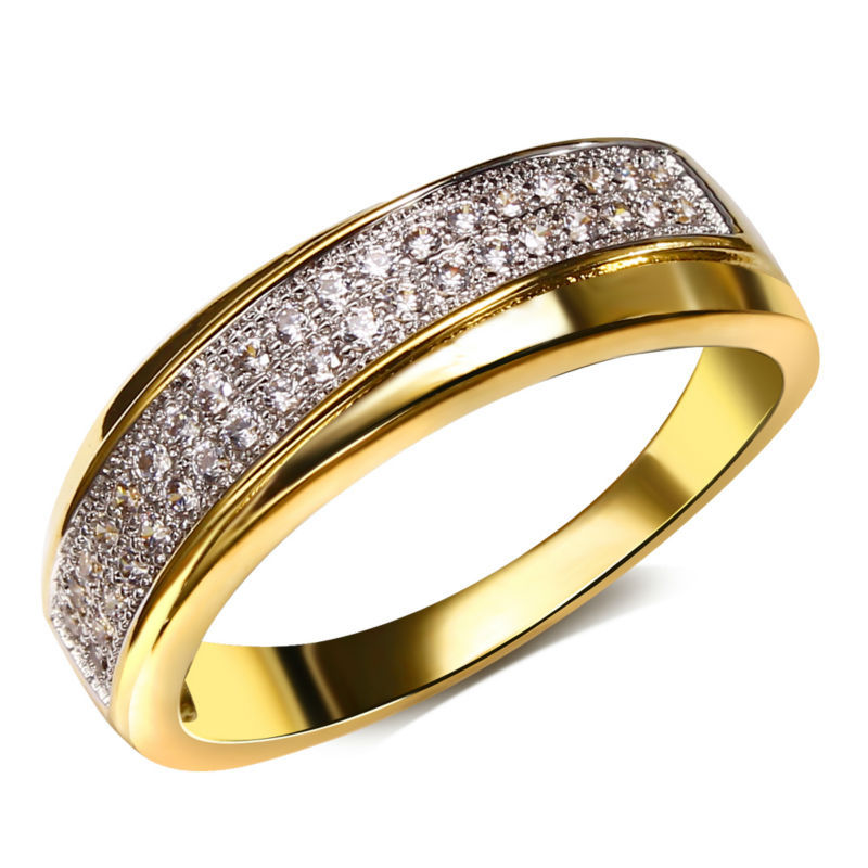 dreamcarnival1989 Official Store DreamCarnival 1989 Women Wedding Ring Stacking Rhodium or 2 Tones Gold-color CZ Paved Engagement Jewelry Anillos Mujer Size 6-10