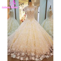 2017 New Sexy High Quality See Through Flowers Ball Gown Wedding Dress Vestidos De Novia Plus