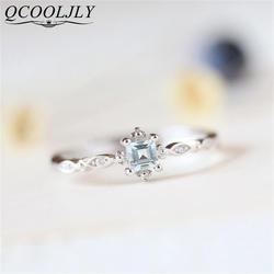 QCOOLJLY лакомство кольцо с синим кристаллом для женщин простой стиль квадратный обручение палец кольцо женские модные украшения bague bijoux
