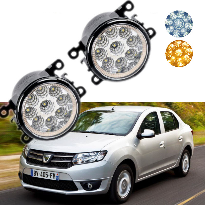 Car Styling For Dacia Renault Logan 2004-2016 9-Pieces Leds Chips LED Fog Light Lamp H11 H8 12V 55W Halogen Fog Lights for dacia logan saloon ls