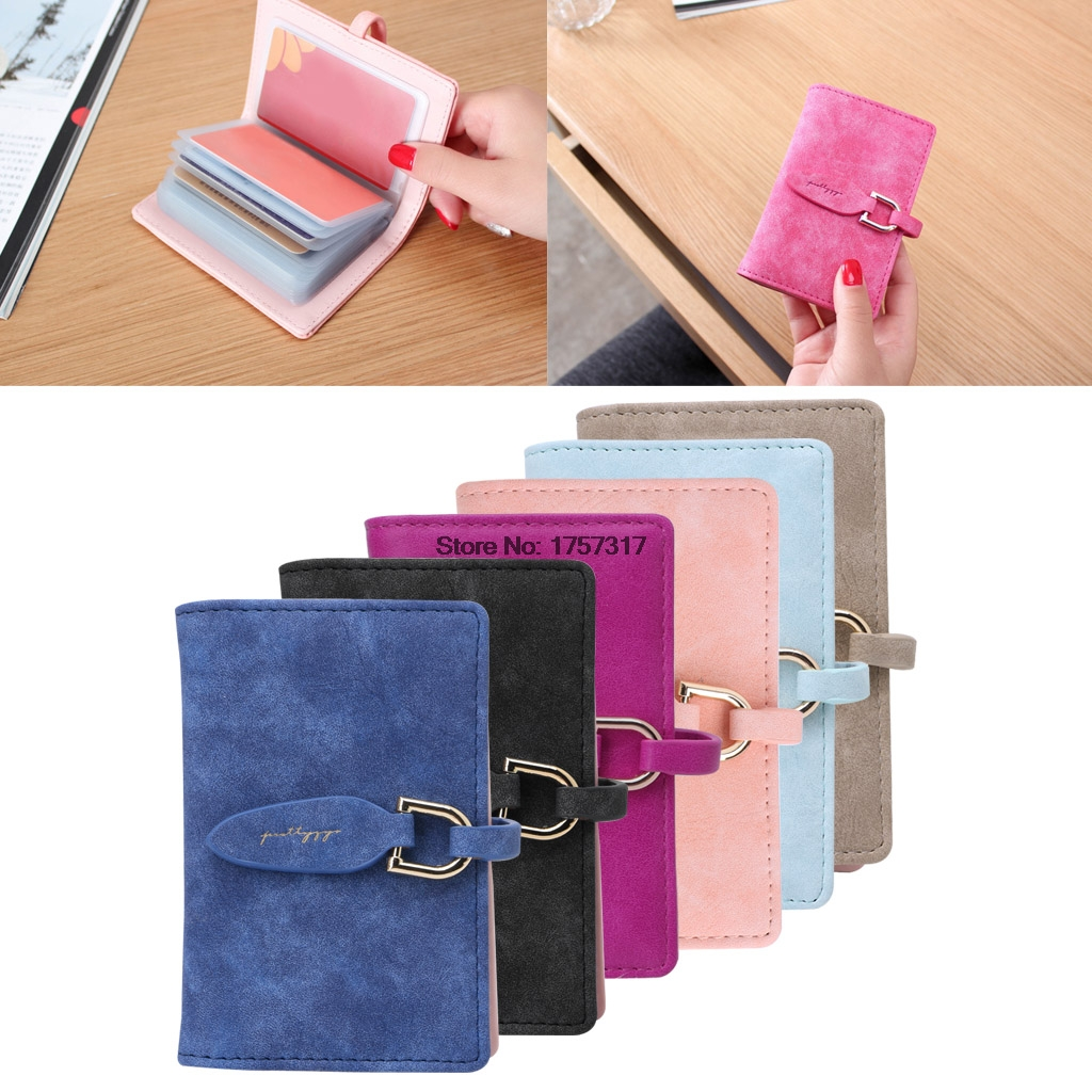New 1pc 20 Slots Women Lady Credit Card Holder Leaf Pu Leather Wallet Id  Holder Clutch