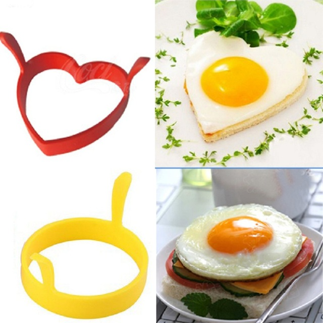 New Year Hot Creative Round Heart Kitchen Silicone Egg Frier Fried Pancake Ring Mould Tool random color drop shipping