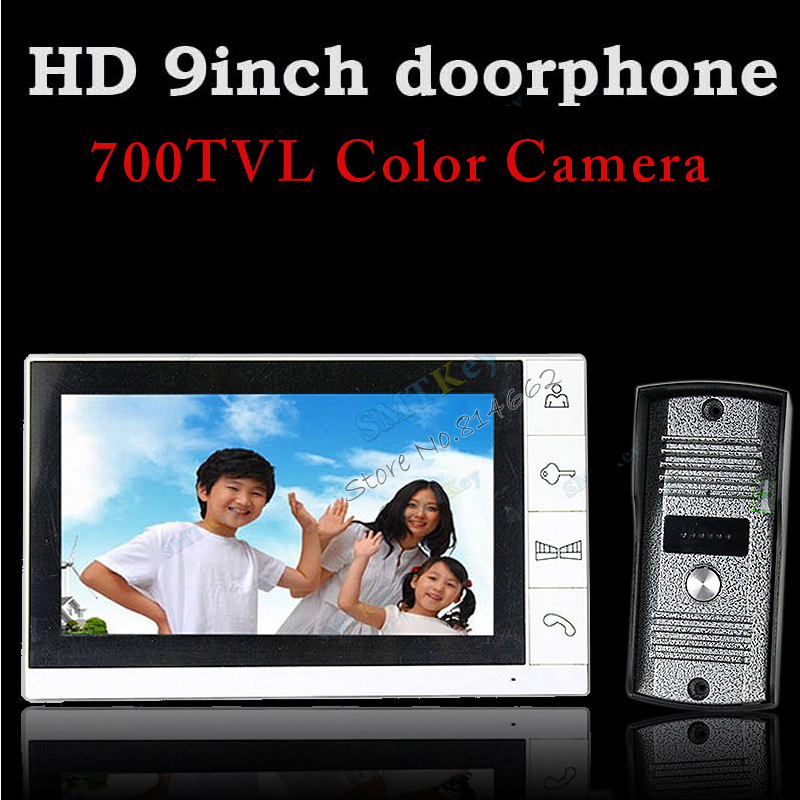 Candid 9inch Monitor Color Video Doorphone Intercom System With 700tvl Outdoor Unit