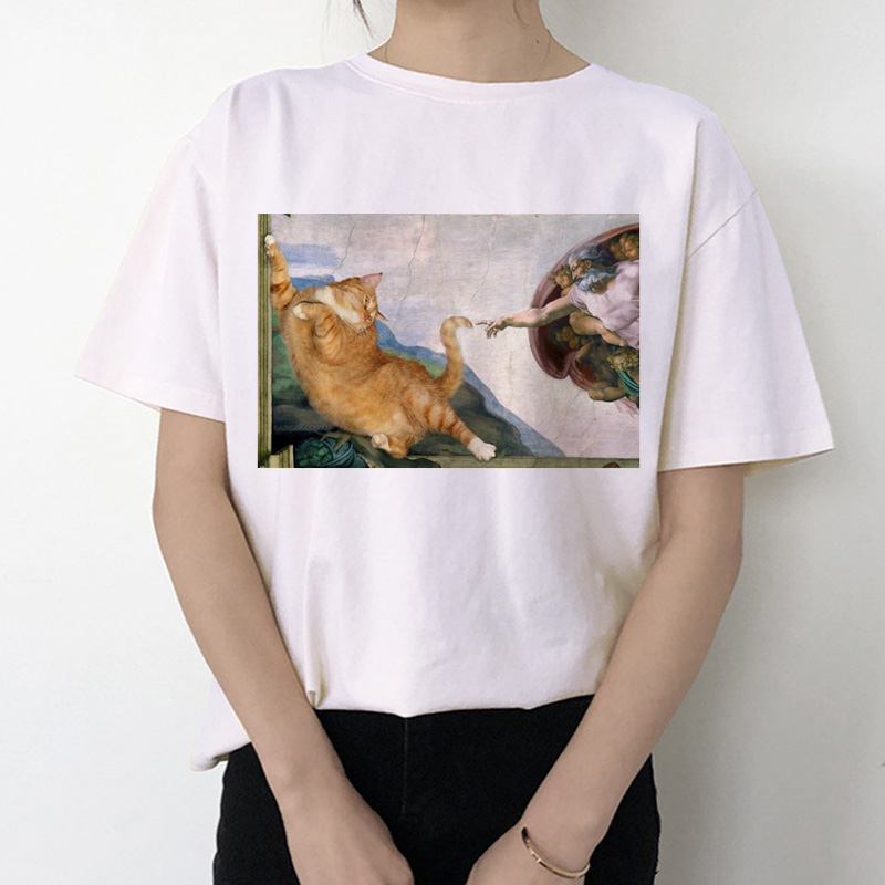 Cat Funny Women T Shirt 2019 Michelangelo Korean Kawaii Ulzzang Tshirt Female Graphic Short Sleeve Print T-shirt O-neck Fashion