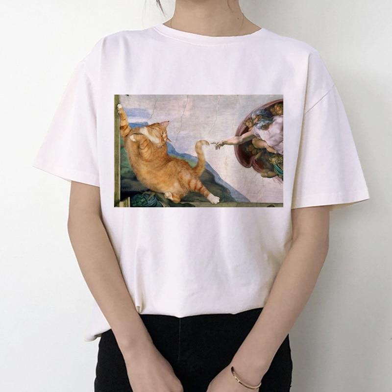 Cat Funny Women T Shirt 2019 Michelangelo Korean Kawaii Ulzzang Tshirt Female Graphic Short Sleeve Print T-shirt O-neck Fashion