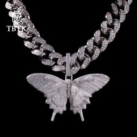 TBTK Promotion Charms Iced Out Butterfly Pendant Zirconia Animal Luxury Jewelry Punk Gold With 20mm CZ Cuban Link Chain Necklace