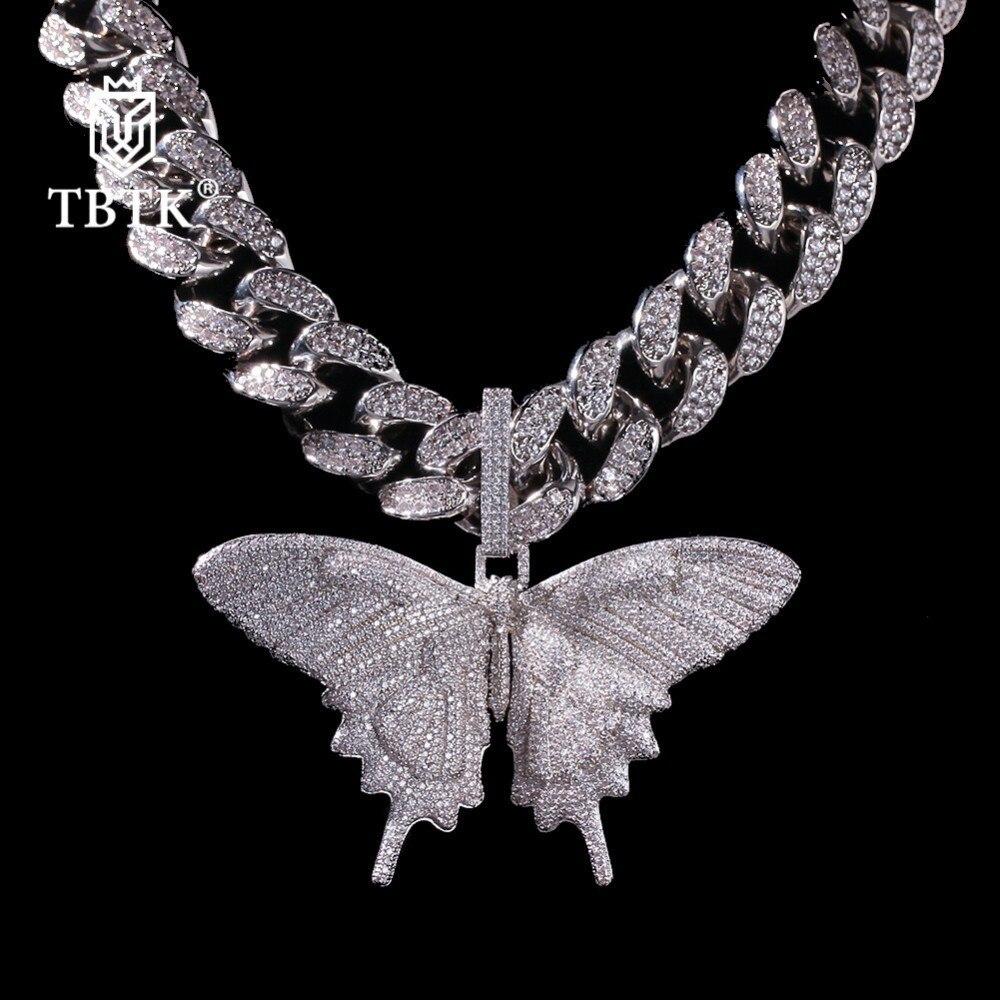 TBTK Promotion charmes glacé papillon pendentif zircone Animal de luxe bijoux Punk or avec 20mm CZ lien cubain chaîne collier