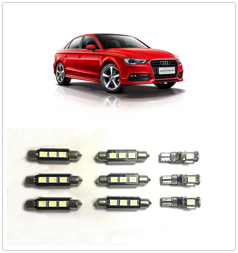 9PCS White LED Interior Package kit For <font><b>AUDI</b></font> A3 or S3 (8P)A4 A1 <font><b>A8</b></font> Q3 Q7 Map Dome Cargo Tag Lights image