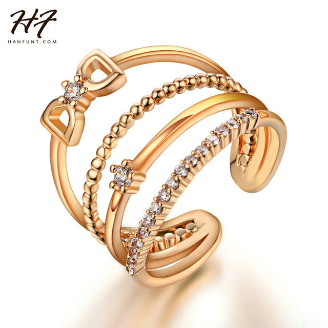 2016 Latest Design DD Letter AAA Grade Round CZ Crystal Quad Band Unique Open Rings
