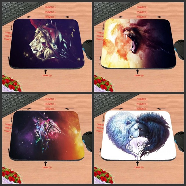 Fierce Lion Art LOGO Games Antiskid Rectangular Computer Mouse Pad, Custom  Size, Decorate Your