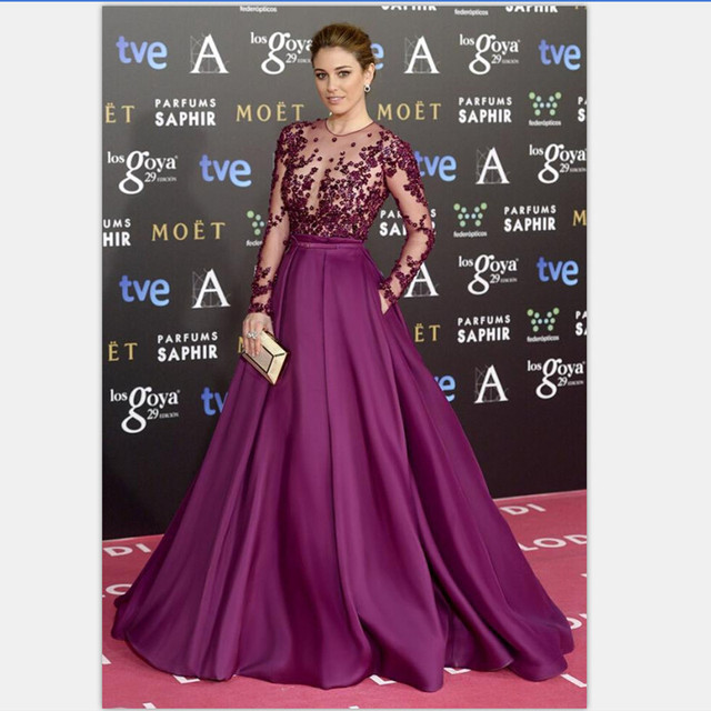 Sexy See Through Lace Formal Evening Gowns Beaded Chiffon Long Purple Prom  Dress Long Sleeves Scoop Neck vestidos para festa efc68ec6e8ab
