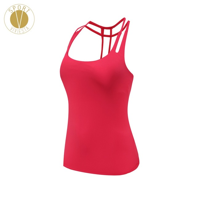 bc058f82acf2b Strappy Tight Fit Racerback Sports Tank - Women s Run Yoga Elastic Stretch  Thin Strap Shelf Bra Padded Removable Cup Vest Top