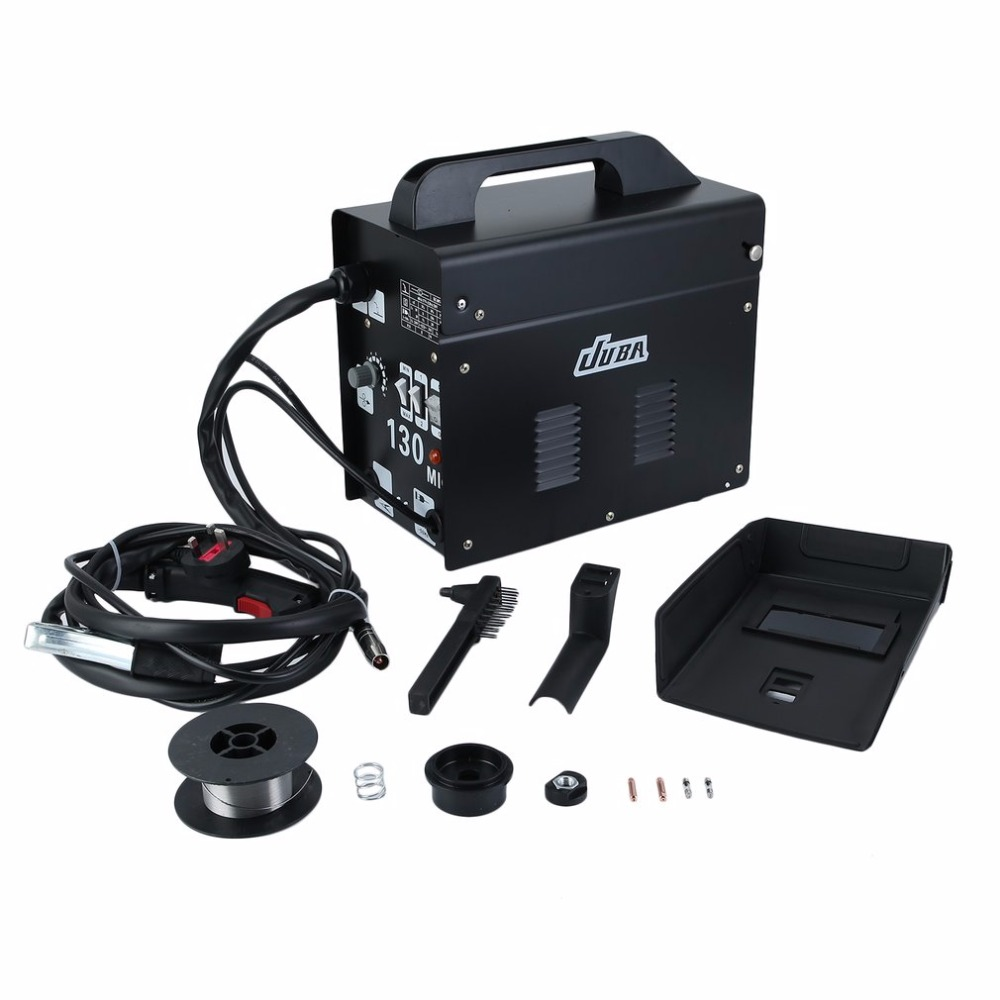 Mig 130 Portable Welding Machine No Gas Flux Core Wire 240V Stable Efficient Mig Weldering Equipment UK Plug