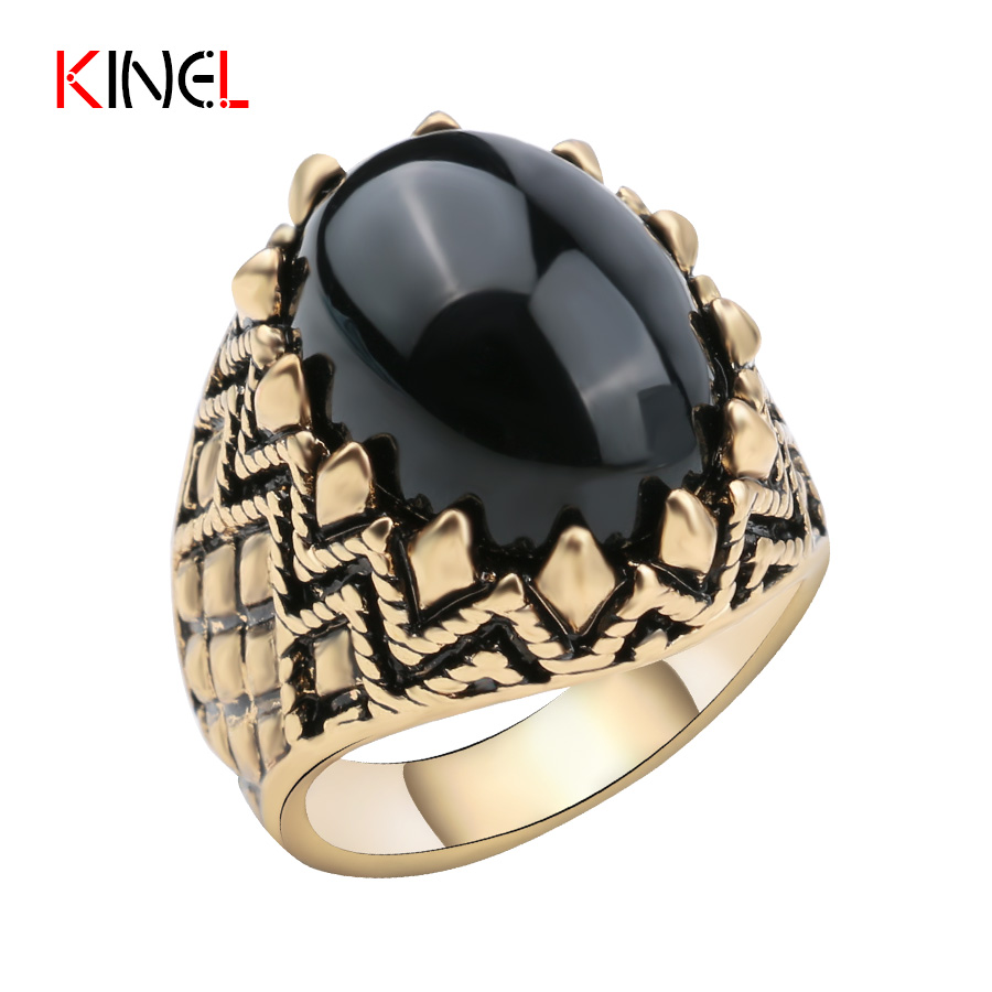 2016 Turkey Fashion Vintage Women's Black Ring Antique Gold Plated Unique  Wedding Jewelry Steampunk Oval Rings For Women