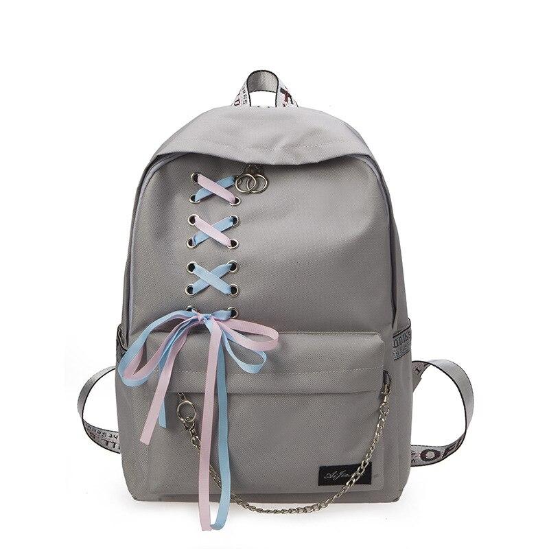 2018 New Canvas Backpack for Teenage Girls School Bags Ribbon Hip Hop Bags Rucksack Female Travel Backpacks rugzak vrouwen
