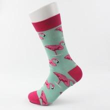 Fashion Women Mens Cotton Happy Flamingos Printed Middle Socks Colorful Soft Casual calcetines skarpetki meias