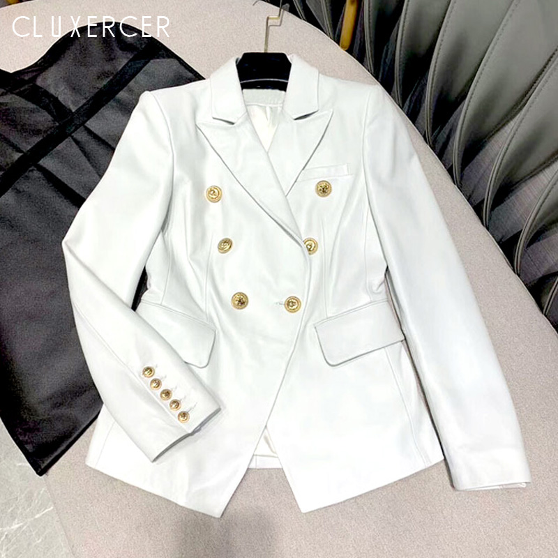 Spring Autumn Women Pu   Leather   Blazer Fashion Button Double Breasted Faux   Leather   Jacket And Coat Casual Black White Jacket