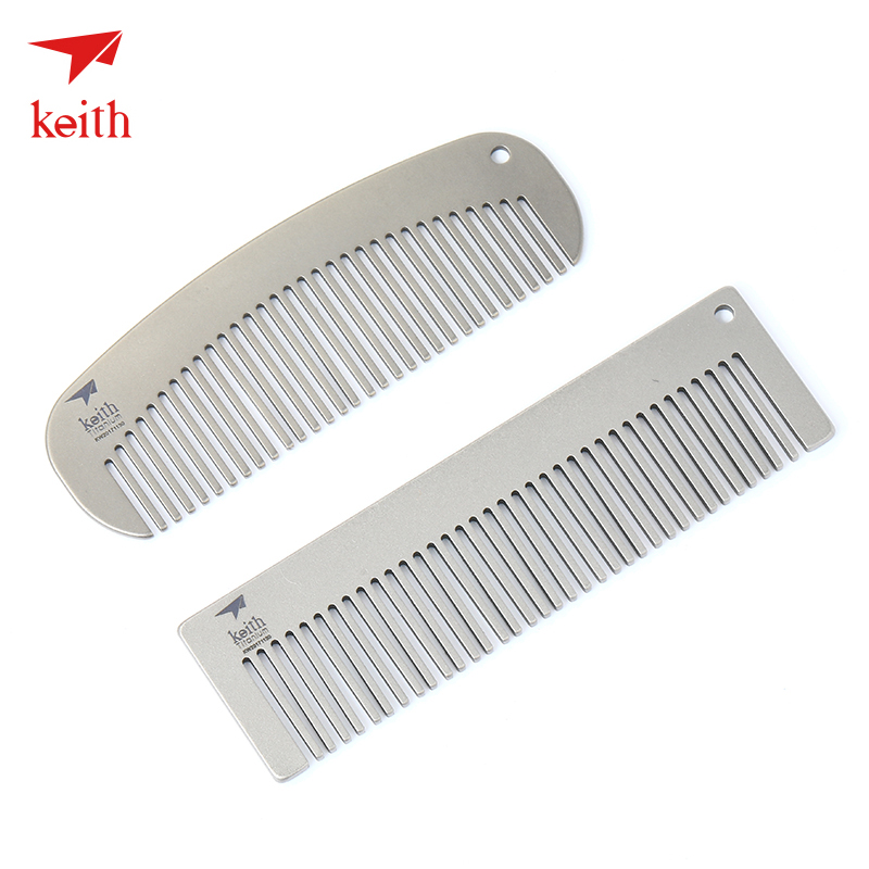 Keith Armor Pure Titanium Comb Durable Antistatic Outdoor Travel Portable Creative Custom Titanium Hair Comb