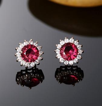 Hot !!! Three Color Zircon Stone Round Earrings 925 Silver Ear Pin Allergy Free Luxury Wedding Stud Earrings Fow Women Party
