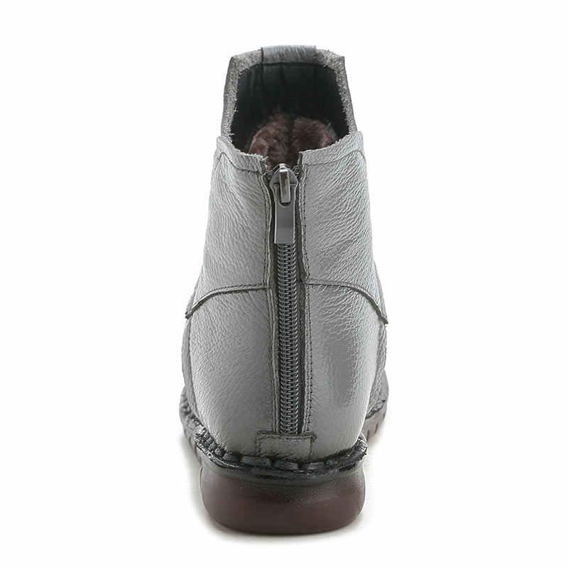 Xiuteng 2019 Kış Hakiki Deri Kadın yarım çizmeler El Yapımı Nakış Etnik Tarzı Vintage Kadın Ayakkabı düz çizmeler Hediye Için