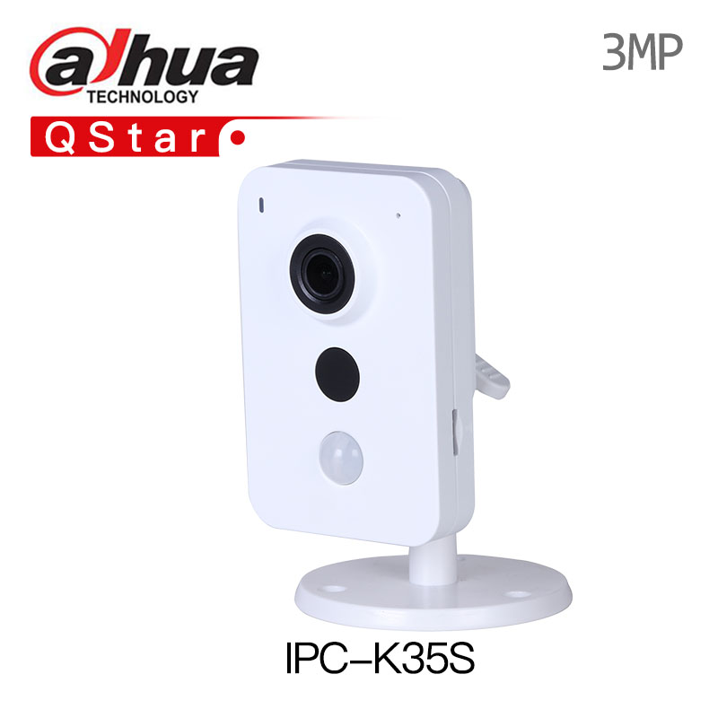 DaHua Wireless IP Camera IPC-K35S 3MP Dual Band Wi-Fi Network Camera built in mic and speaker mini PIR replace DS-2CD2442FWD-IW original english ds 2cd2432f iw hik 3mp ir cube ip network microphone wireless camera poe wi fi pir detection