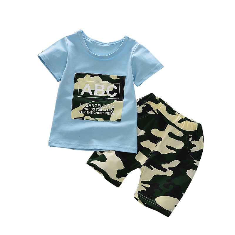 Childrens Clothing Sets 2017 Summer Baby Boys Sports Leisure Suit T-shirt +Camouflage shorts 2 pieces Childrens Clothes