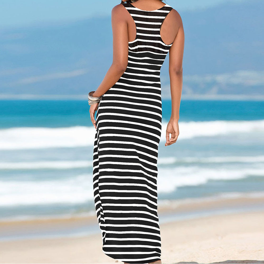 JAYCOSIN Dresses fashion O-Neck Cotton dress Womens  Women Casual Sundress Sleeveless Stripes Loose Long Beach Dress  201921