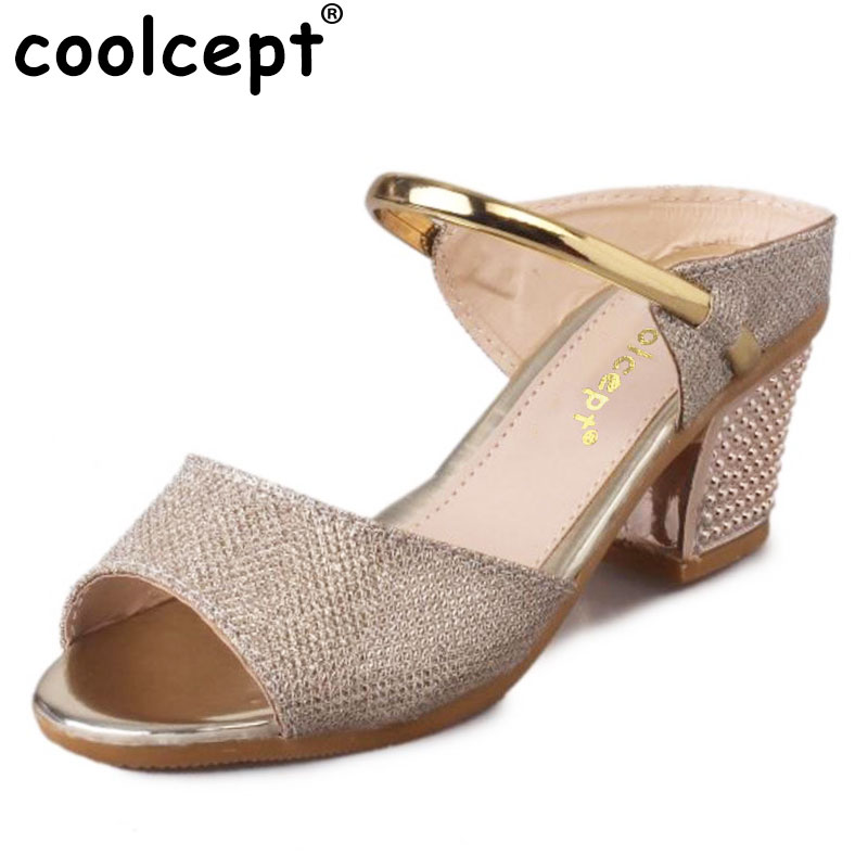 где купить Coolcept high heels sandals gold sliver ankle wrap women peep toe ladies heeled sandals gladiator footwear size 36-40 WA0467 по лучшей цене