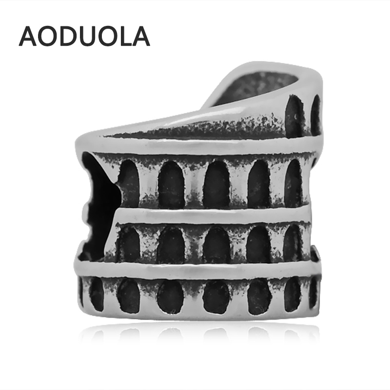 2Pcs Lot Stainless Steel Roman Colosseum Beads DIY Big Hole Bead for Jewelry Making Fit For Pandora Bracelet