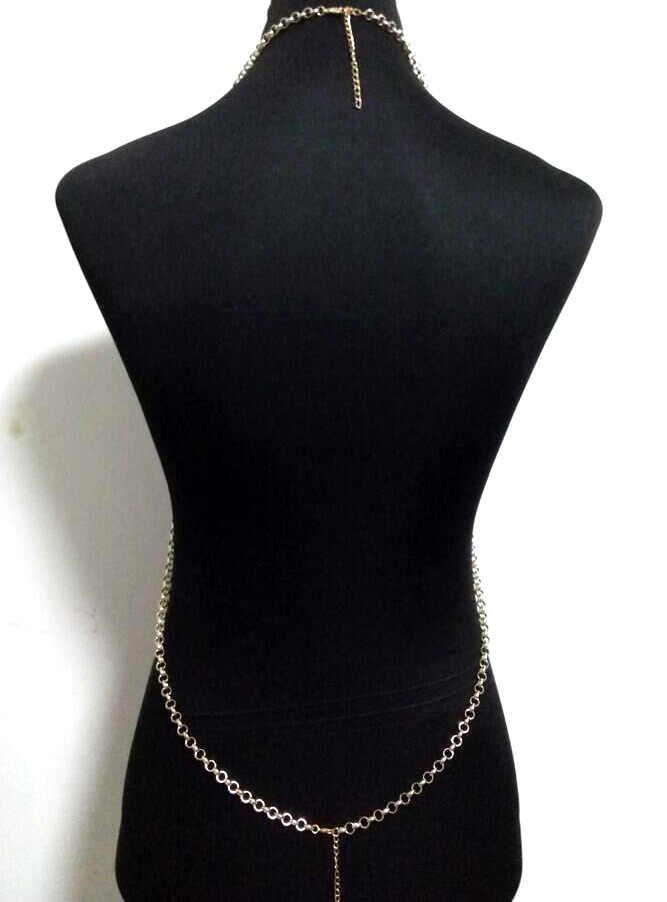 Chran Luxury Women Gold Silver Beach Chains Fashion Alloy Harness Black Dress Slave Halter Necklace Chain Bra Jewelry BDC455