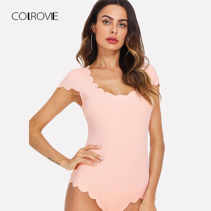 COLROVIE Scallop Trim Solid Sexy Bodysuit Pink Skinny Elegant Cap Sleeve Women Bodysuit 2018 Stretchy Mid Waist Summer Bodysuit
