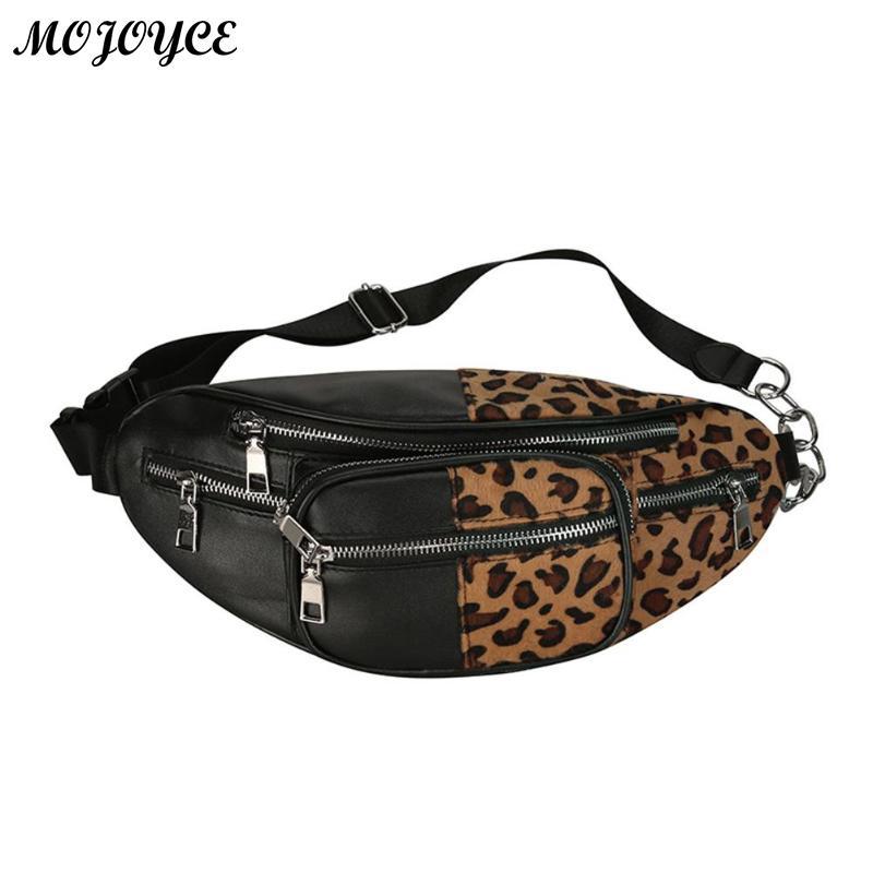 Women Men Waist Bag Leopard Bag Fanny Pack Money Waist Pouch PU Leather Chest Bags For Men Women Shoulder Bags Bolsas Feminina