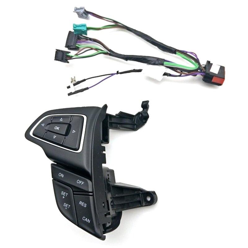 Para ford focus mk3 2015-2017 kuga 2017 interruptor de controle de cruzeiro multifunções botão do volante botão de áudio bluetooth