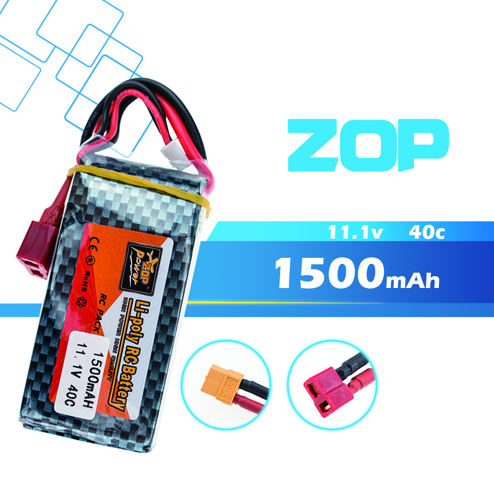 ZOP 11.1V 3S 1500Mah 40C Lipo RC Battery T / XT60 Plug For WLtoys V950 RC Car Airplane Drone Qudcopter