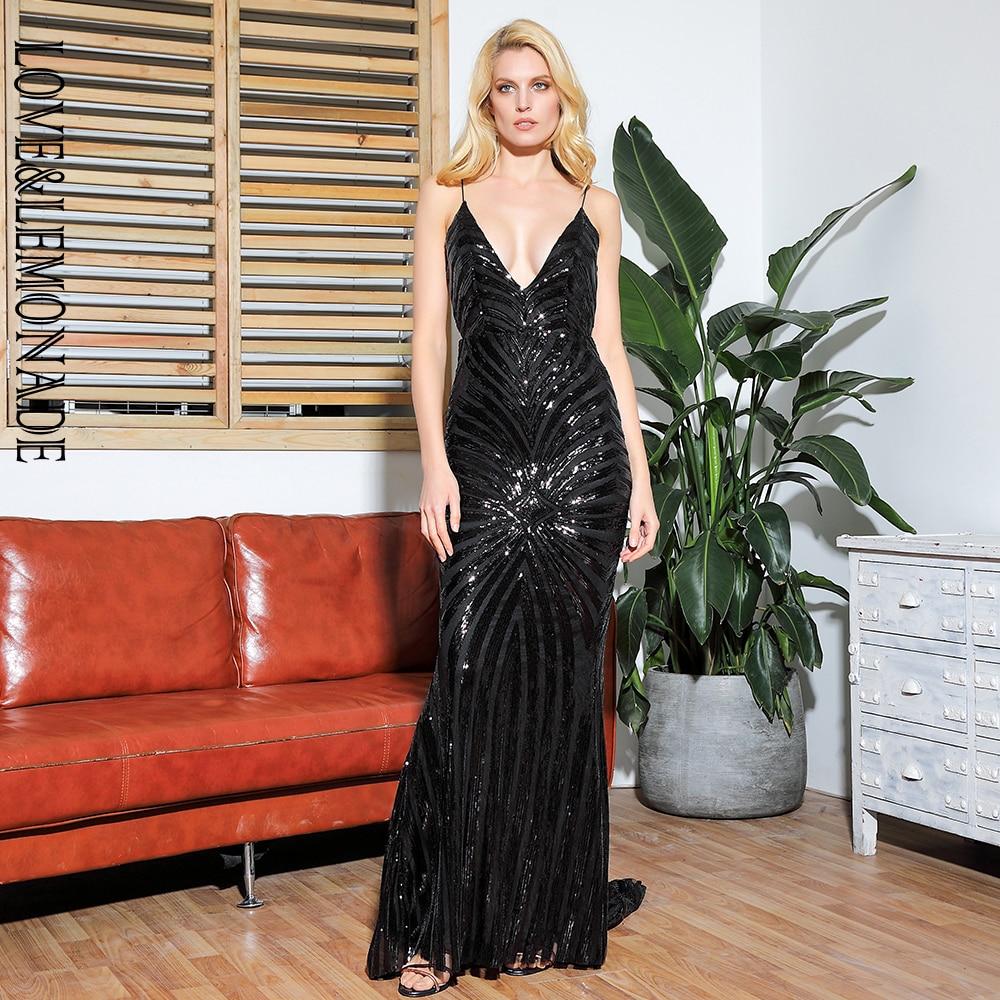 LOVE LEMONADE Sexy Black Deep V Neck Open Back Geometry Sequins Long Dress LM81225